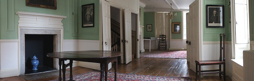 The First Floor at Dr Johnson's House. A panoramic view of the floor and contents.
